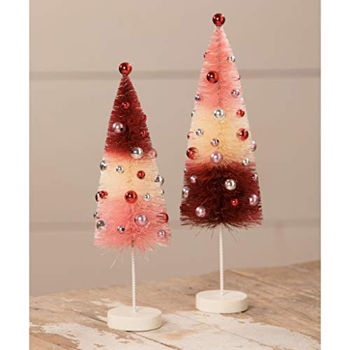 Bethany Lowe Valentine Bottle Brush Trees Red White Pink Ball Ornaments Set of 2