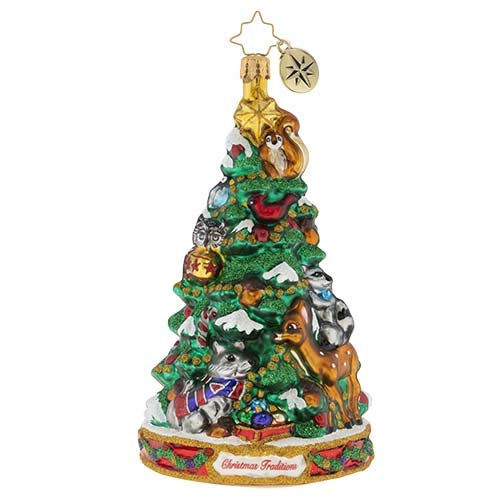 Christopher Radko Hand-Crafted European Glass Christmas Decorative Figural Ornament, Forest Friends Decorating Party
