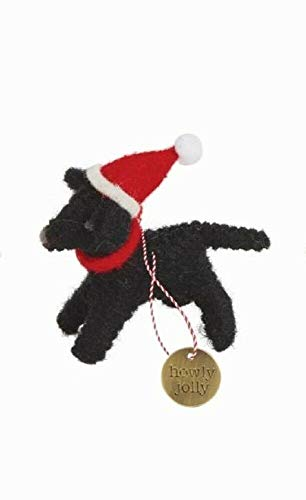 Mud Pie Christmas Felted Dog Ornament (Black Labrador)
