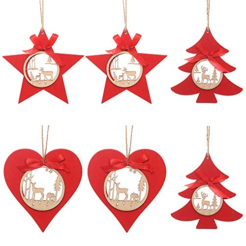 Tonando 6 Pcs Red Wooden Ornament Hollow Laser Etched Reindeer Carving Ornaments for Thanksgiving,Christmas