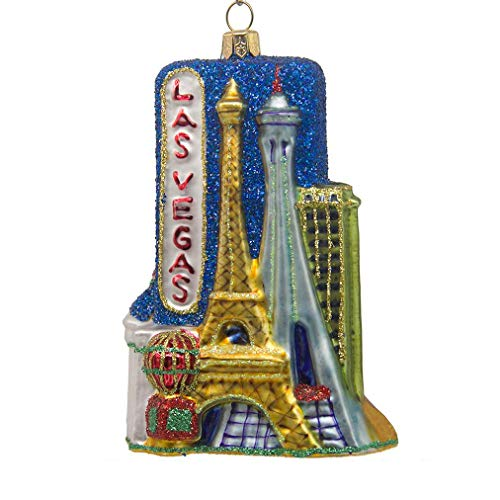 CDL 5 inches Las Vegas Ornament Souvenirs Christmas Ornaments Travel Memorabilia Glass Blown Glass Ornaments (5″, Las Vegas G68)