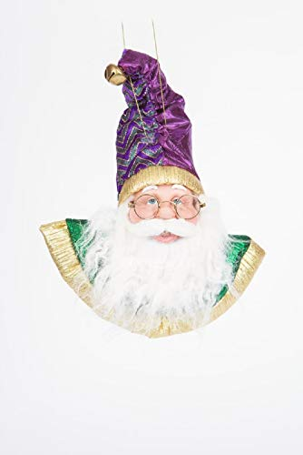 hru King Mardi Gras Santa Christmas Tree Ornament Holiday Figurine Purple/Gold/Green from Santa's Workshop New Orleans Parade Louisiana