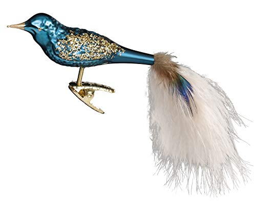 Inge-Glas Rocky, Clip-On Bird 10184S018 German Blown Glass Christmas Ornament