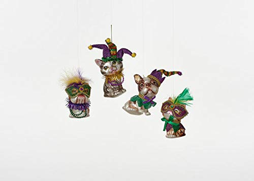 180 Degrees Mardi Gras Dog and Cat Glass Ornaments Set of 4 with Masks Beads Feathers