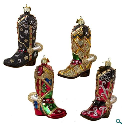 Kurt Adler Noble Gems Glass Western Boot Ornament