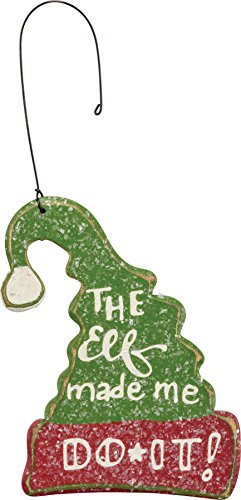 Primitives By Kathy 3.25 Inches x 4 Inches Wire Wood Ornament – The Elf Decorative Hanging Ornaments