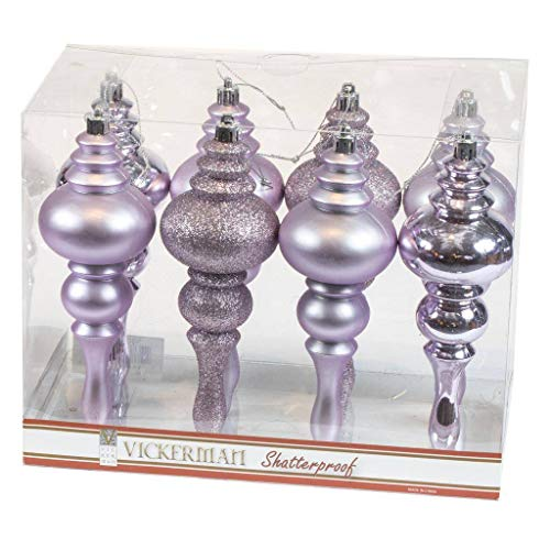 Vickerman 443200-7″ Lavender 4 Assorted Finish Finial Christmas Tree Ornament (8 pack) (N500236)
