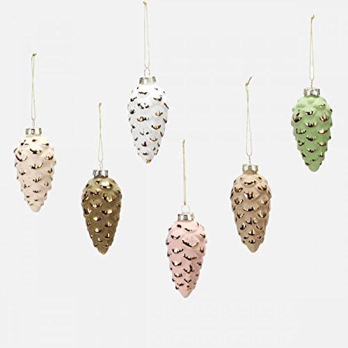 One Hundred 80 Degrees Large Glass Pine Cone Ornaments – Boxed Set of 6