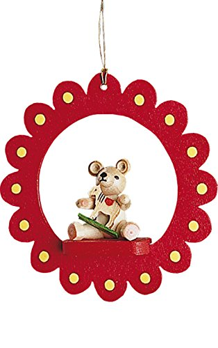 Teddy Bear in a Flower Red 3 Inch Wood Christmas Ornament Figurine