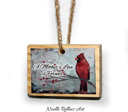 Mother's Love remembrance ornament with red cardinal