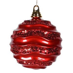 Vickerman Wave Ball Ornament, 6″, Red