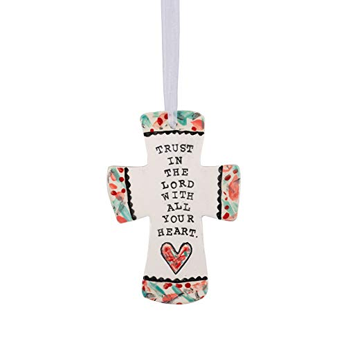 Glory Haus Trust in The Lord Heart with All of Your Heart Ceramic Cross 6.6×4.3×0.25