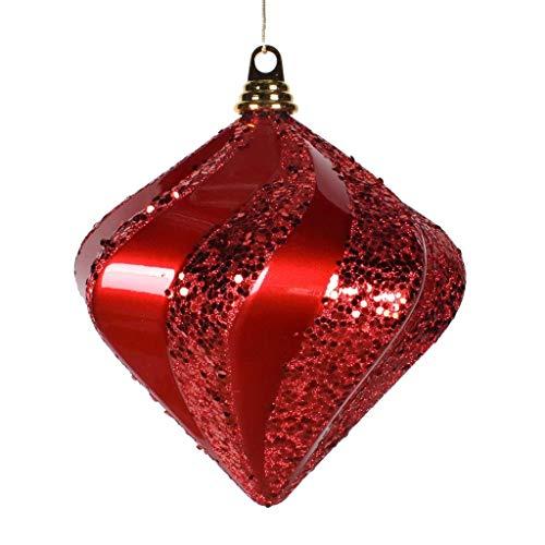 Vickerman 588192-6″ Red Candy Glitter Swirl Diamond Christmas Tree Ornament (3 pack) (N189803DCV)