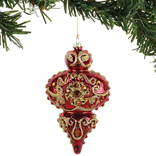 Department 56 Magnolia Garden Christmas Holiday Jeweled Finial Hanging Ornament, 6 Inch, Red and Gold