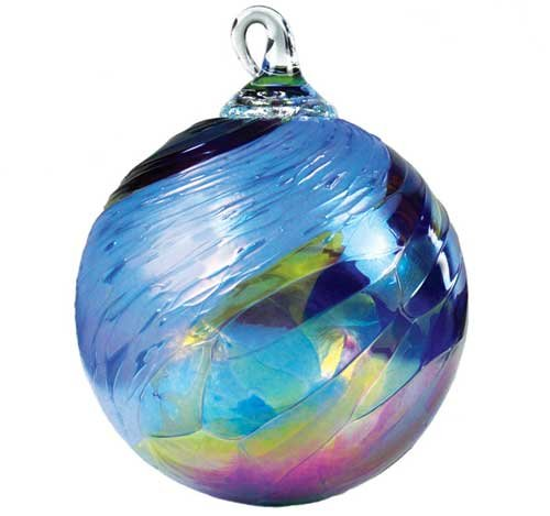 Glass Eye Studio Classic Blue Feather Chip Ornament