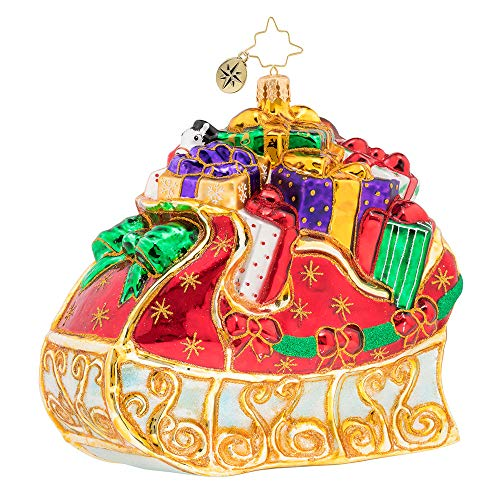 Christopher Radko Hand-Crafted European Glass Christmas Decorative Figural Ornament, Bountiful Sleigh