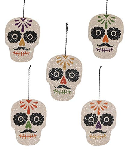 Bethany Lowe Day of The Dead Sugar Skull Ornaments Set of 5