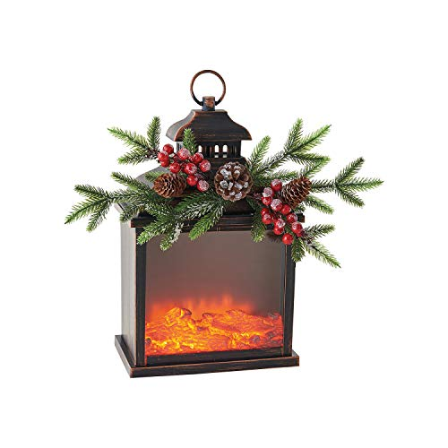 KIG Exclusives Christmas Fire Light with Evergreen Motion Battery Operated