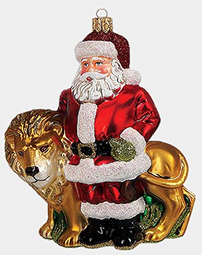 Pinnacle Peak Trading Company Santa with Lion Polish Mouth Blown Glass Christmas Ornament