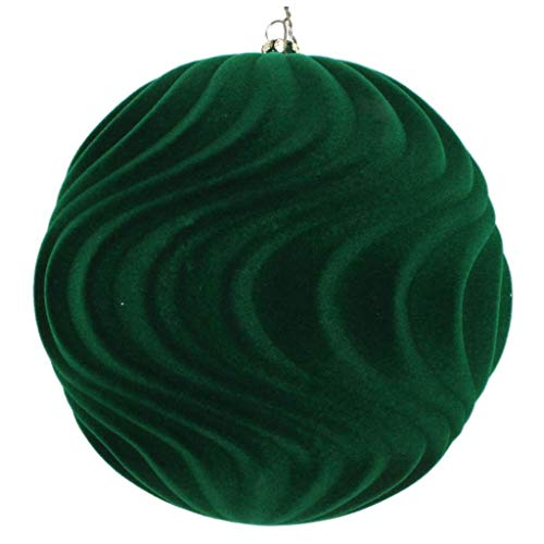 Vickerman 612590-6″ Moss Green Flocked Wave Ball Christmas Tree Ornament (2 pack) (MT196164D)