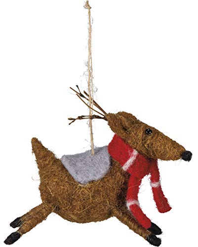 Primitives by Kathy PBK Christmas Decor – Felt Reindeer with Scarf Ornament