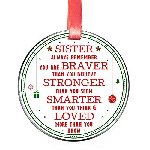 Elegant Chef Christmas Ornament for Sister- Always Remember You are Braver Stronger Smarter- Motivational and Inspirational Gift from Brother- Xmas Holidays Decoration- 3 inch Flat Stainless Steel