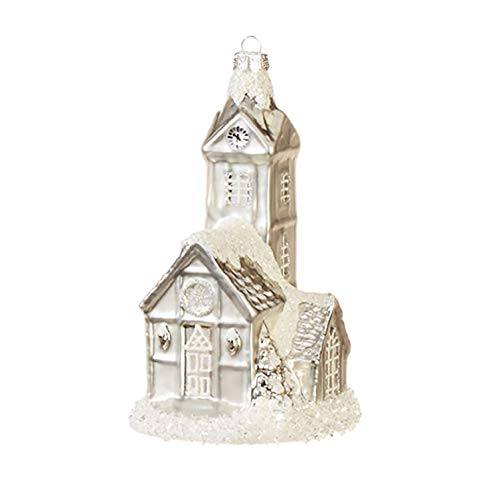 Raz Peaceful White Snowcapped Tower 6 inch Glass Decorative Christmas Ornament