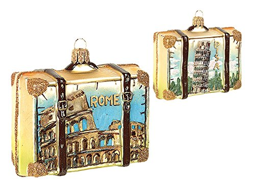 Pinnacle Peak Trading Company Rome Italy Travel Suitcase Polish Blown Glass Christmas Ornament ONE Decoration