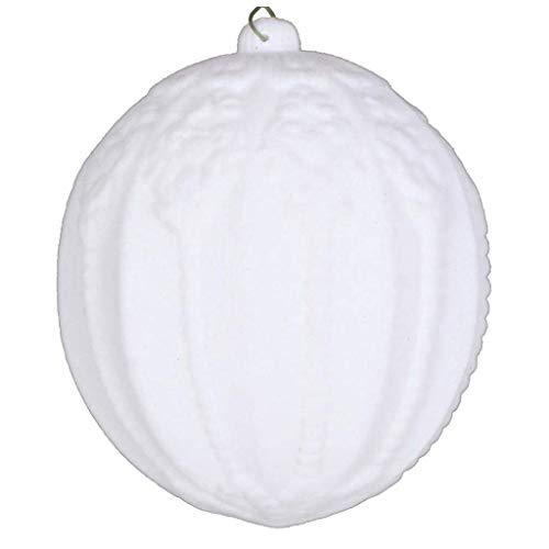 Vickerman 612897-4″ White Flocked Ball Christmas Tree Ornament (3 pack) (MT196511D)