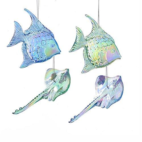 Kurt Adler 4.75″ Blue+Grn Fish/Stingray Ornament 4A
