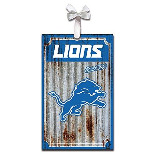Team Sports America Detroit Lions, Metal Corrugate Ornament, Set of 2
