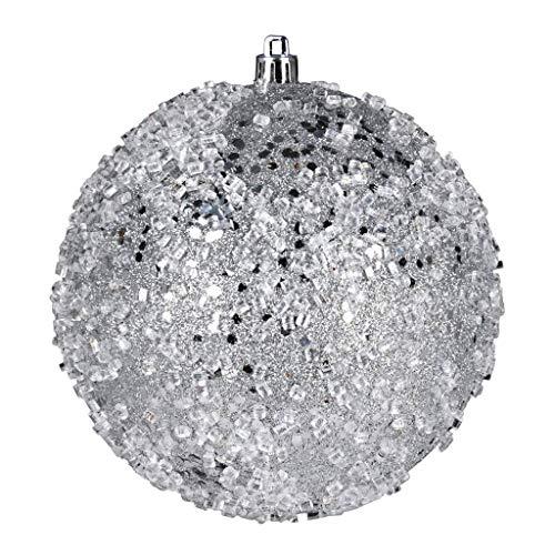 Vickerman 599907-6″ Silver Glitter Hail Ball Christmas Tree Ornament (4 pack) (N190307D)