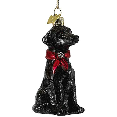 Glass Labrador Retriever Ornament Black NB0900LB-C Nobel Gems Kurt Adler
