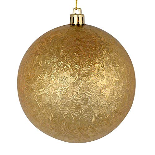 Vickerman 530719-4″ Copper/Gold Brushed Ball Christmas Tree Ornament (6 pack) (N189133D)