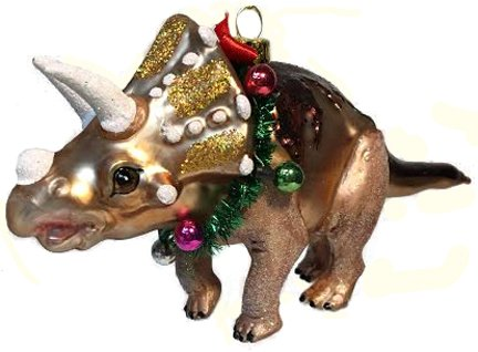 December Diamonds Blown Glass Ornament – Triceratops Dinosaur with Christmas Garland