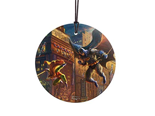 Trend Setters Thomas Kinkade – The Dark Knight Saves Gotham City – Batman – DC Comics – Starfire Prints Hanging Glass – Ideal Decoration for Gifting and Collecting