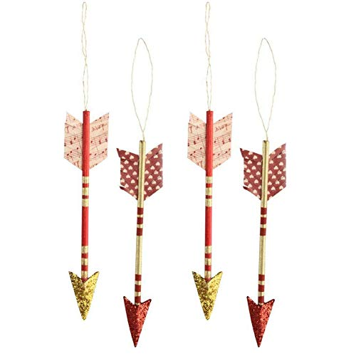 Bethany Lowe Valentine's Day Cupid Arrow Ornaments Red Gold 4″ Long Set of 4