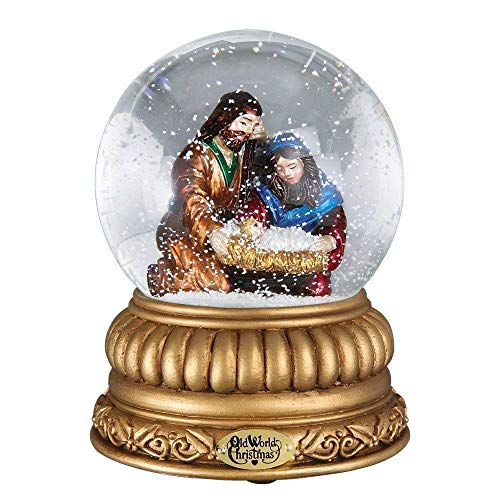 Old World Christmas Holiday Snow Globes Glass Blown Ornaments for Christmas Tree Holy Family