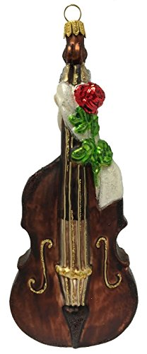 Pinnacle Peak Trading Company Double Bass Instrument with Rose Polish Glass Christmas Tree Ornament Orchestra