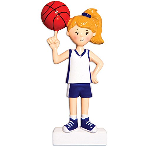 Personalized Basketball Player Christmas Tree Ornament 2019 – Girl in Uniform Turning B-Ball Score Athlete Coach Hobby College NBA Granddaughter Profession Blonde Gift Year – Free Customization