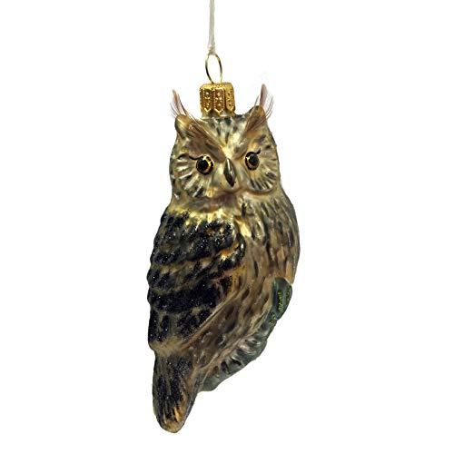 Pinnacle Peak Trading Company Brown and Black Owl Polish Glass Christmas Ornament Wildlife Animal Decoration
