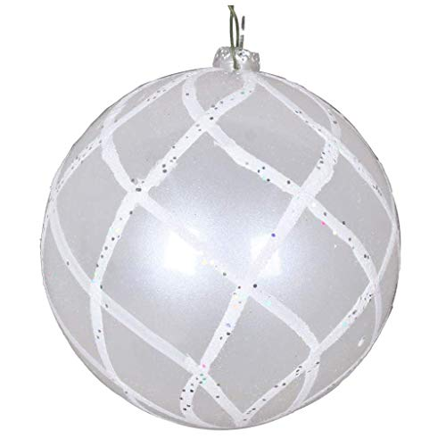 Vickerman 613559-4″ White Candy Glitter Net Ball Christmas Tree Ornament (3 pack) (MT198011D)