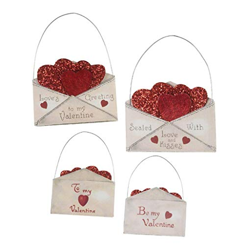 Bethany Lowe Valentine Envelope with Red Glitter Hearts 3.25″ Ornaments Set of 2