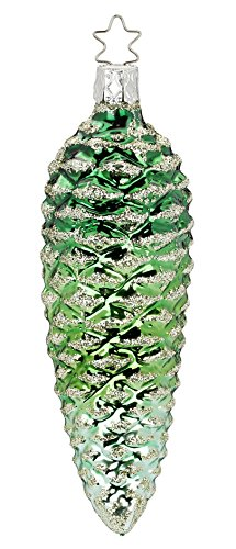 Inge Glas Green Cone 1-335-15 German Blown Glass Christmas Ornament Gift Box