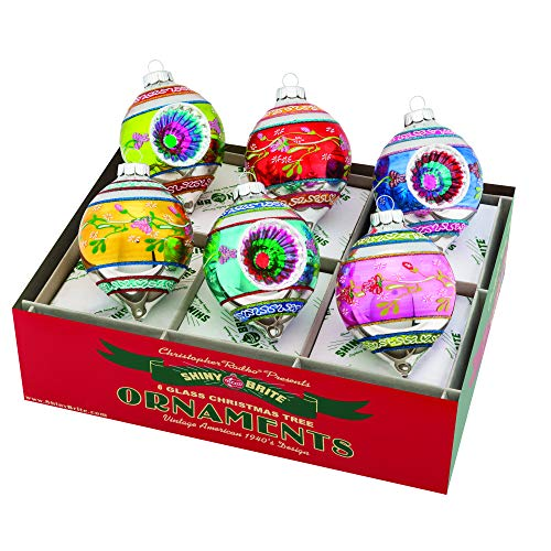 Christopher Radko Decorated and Reflector Tulip Colorful 3 inch Glass Holiday Ornaments Box of 6