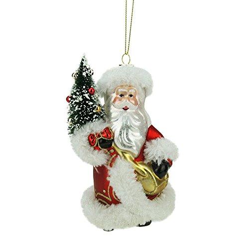 Northlight Old World Santa with Christmas Tree Decorative Glass Ornament, 5.5″