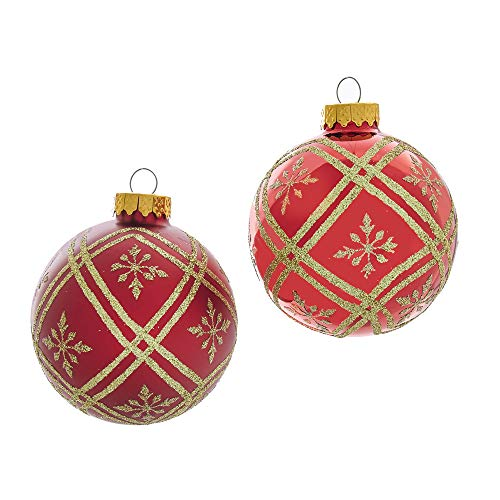 Kurt Adler Kurt S. Adler 80MM Red and Gold Glitter Glass Ball, 6 Piece Box Ornament,