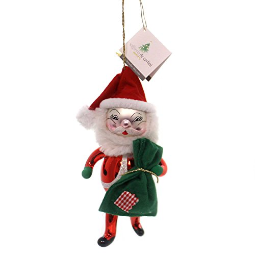 De Carlini Santa with Green Sack Glass Claus Christmas Italian Bn320
