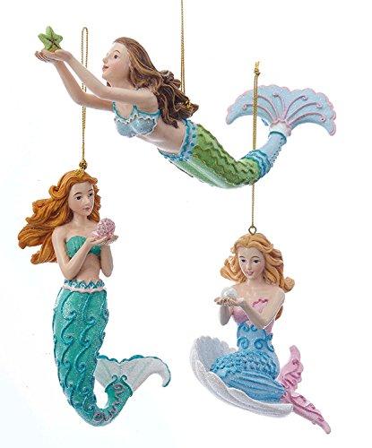 Kurt Adler Mermaid Fantasy Blue and Green Mermaids Christmas Holiday Ornaments Set of 3