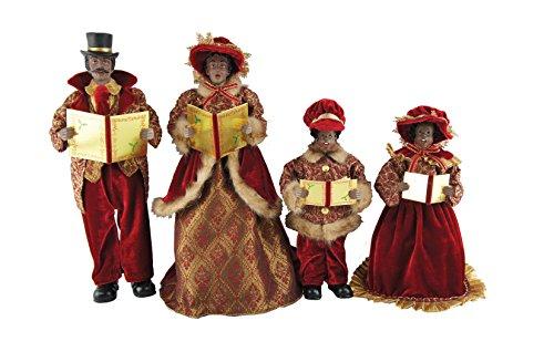 Santa's Workshop 4250 African American Victorian Carolers, Set of 4, 15″-18″, Multicolored